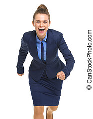Portrait of smiling business woman running