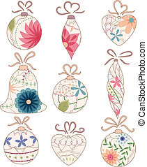 Christmas toys vintage - vector set of Christmas toys...