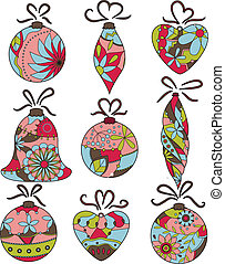 Christmas toys - vector set of Christmas toys