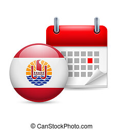 Icon of National Day in French Polynesia - Calendar and...