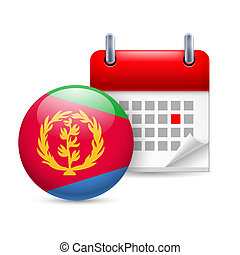 Icon of National Day in Eritrea - Calendar and round...