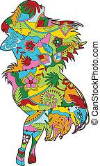 Hawaiian girl silhouette - vector painted hawaiian girl...