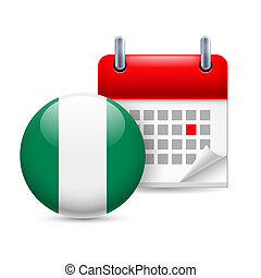 Icon of National Day in Nigeria - Calendar and round...