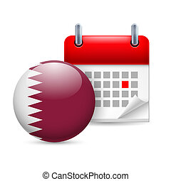 Icon of National Day in Qatar - Calendar and round Qatari...