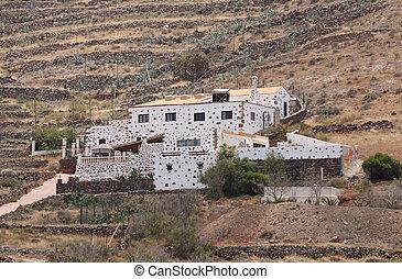Landhaus, Insel, kanarienvogel, Fuerteventura, ländlich,...