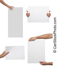 Collection of hand holding blank paper isolated on white...