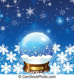 Christmas Snow Globe Loop on a background of bubbles and...