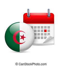 Icon of National Day in Algeria - Calendar and round...
