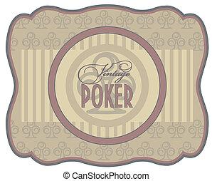 Vintage poker clubs label, vector illustration