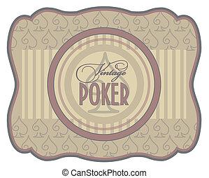 Vintage poker spades label, vector illustration
