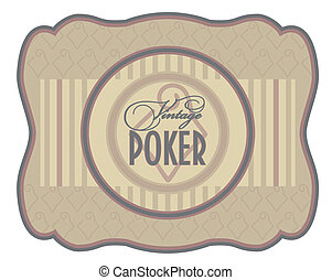 Vintage poker diamonds label, vector illustration