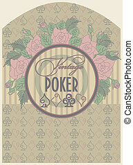 Vintage poker label, vector illustration