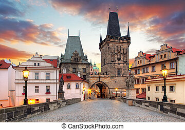 Prague View from Charles Bridge to the mala strana with the...