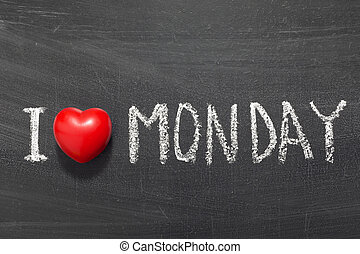 love Monday - I love Monday phrase handwritten on the school...