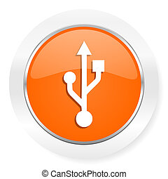 usb orange computer icon - orange computer icon