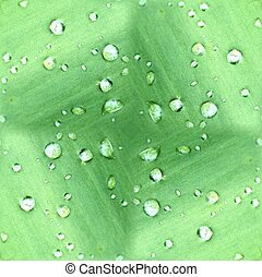 Dew Drops On Green Leaf Pattern - Seamless tile pattern made...