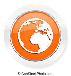 earth orange computer icon - orange computer icon