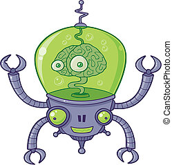 BrainBot Robot with Brain - Vector cartoon illustration of a...