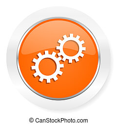 gear orange computer icon