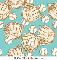 Sketch baseball bal ang glove, seamless pattern - Sketch...