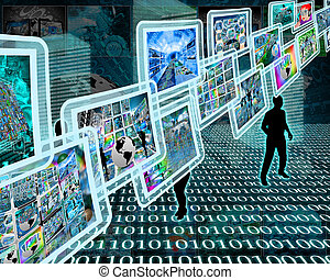 hi-tech interface - Abstract image on the theme computers,...