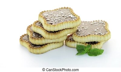 Chocolate tart cookies - Delicious chocolate tart on white...
