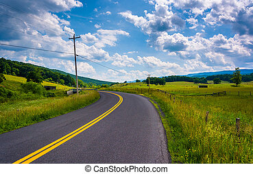 Farm fields along a country road in the rural Potomac Highlands