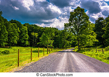 Farm field along a dirt road in the rural Potomac Highlands...