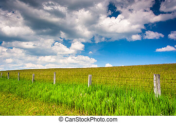 Fence in a farm field in the rural Potomac Highlands of West Vir