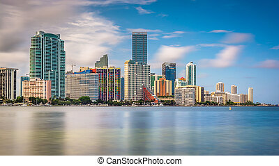 View of the Miami Skyline from Virginia Key, Miami, Florida