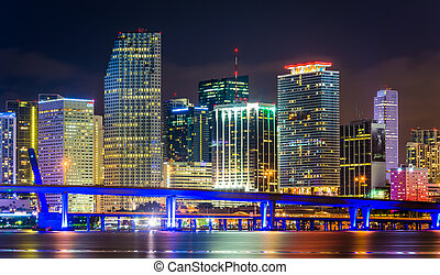 The Miami Skyline at night, seen from Watson Island, Miami,...