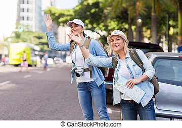 tourists calling for a taxi - two tourists calling for a...
