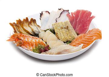 sashimi, feito, prato