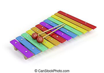 Colorful xylophone - Colorful children's xylophone on white...