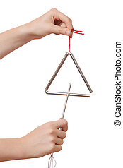 Triangle - Two hands holding a triangle on white background