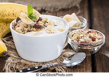 Banana Yogurt - Portion of homemade Banana Yogurt with fresh...