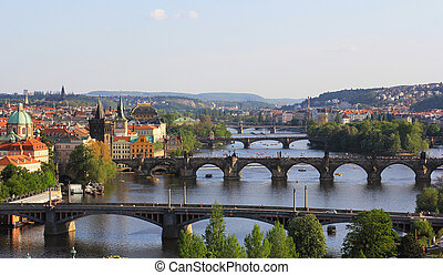 View of the bridge in Prague, Czech Republic