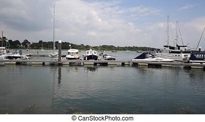 Lymington Hampshire England uk on t - Boats in harbour...