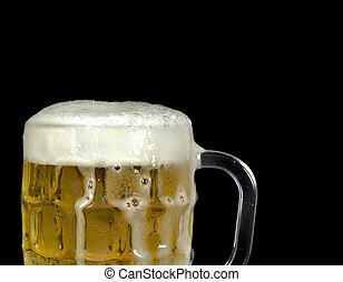 overflowing beer in mug - Overflowing beer in glass beer mug...