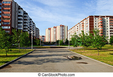 urban landscape - buildings, street, alley
