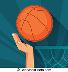 Sports illustration hand shot basketball ball through hoop