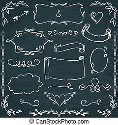 Hand-drawn chalkboard frames and elements set - Set of hand...