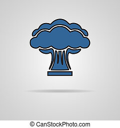 Nuclear explosion on gray background. EPS10 vector