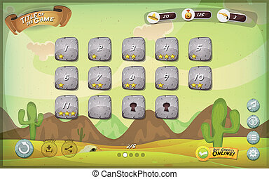 Desert Game User Interface Design For Tablet - Illustration...
