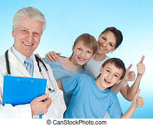 Family go to doctor - Fun family with children go to the...