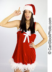 Female Santa Claus has an idea for Christmas - Beautiful...