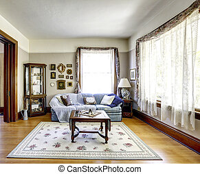 Living room interior in old american house