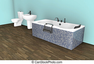 Modern Bathroom Interior Design - Blue Modern Bathroom...