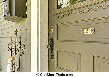 Old entrance wooden door