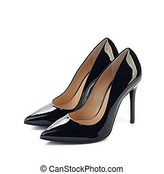 pair of black high heels women classic shoes isolated on...